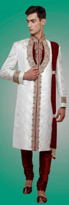 White & Maroon Embroidered Brocade Sherwani Suit