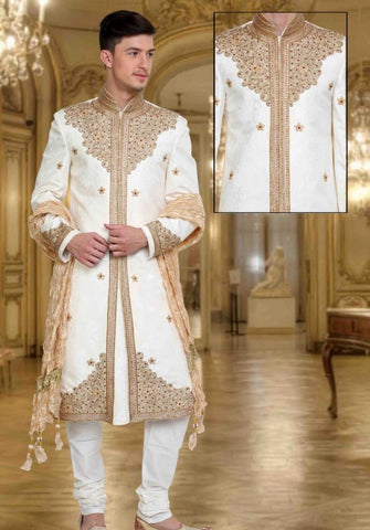 White & Gold Embroidered Brocade Sherwani Suit