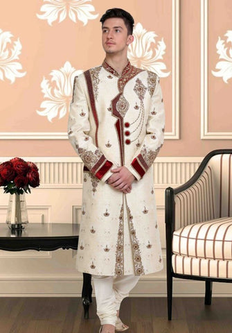 OffWhite & Red Embroidered Brocade Sherwani Suit