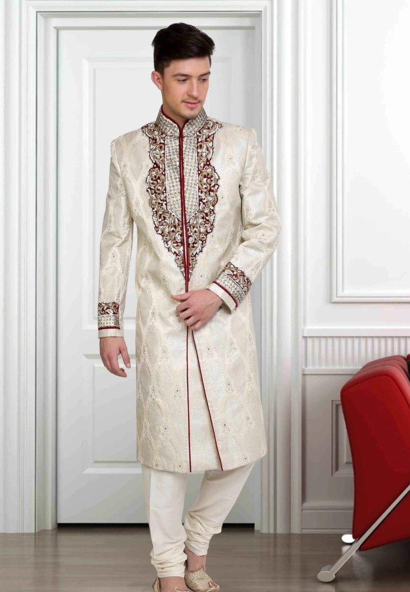 OffWhite & Deep Red Embroidered Brocade Sherwani Suit