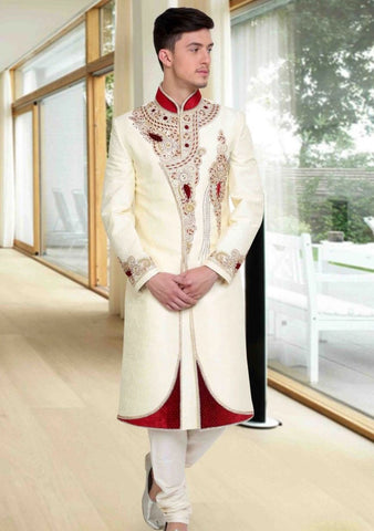 OffWhite & Maroon Embroidered Brocade Sherwani Suit