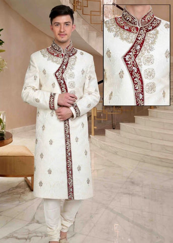 White & Brown Embroidered Brocade Sherwani Suit