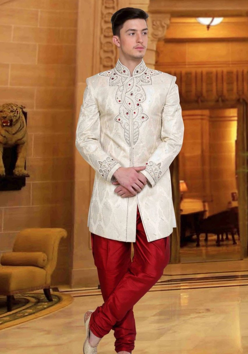 Off White & Maroon Embroidered Brocade Sherwani Suit