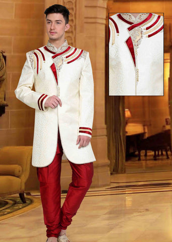 White & Red Gold Embroidered Brocade Sherwani Suit