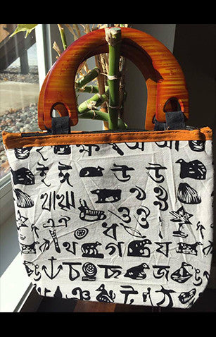 White Cotton Handmade Printed Bengali Tote