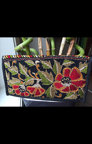 Red And Green Kantha Embroidered Black Zipper Clutch