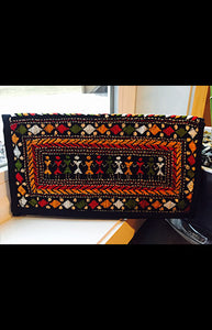 Multicolored Kantha Embroidered Black Zipper Clutch