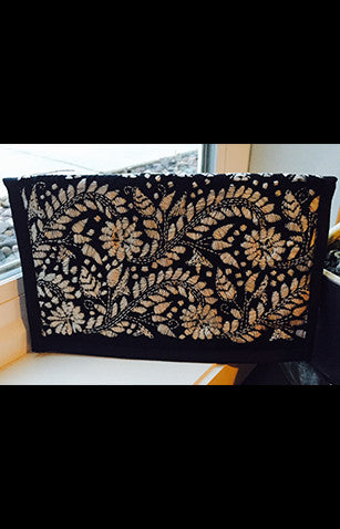 Traditional Kantha Embroidered Black Zipper Clutch