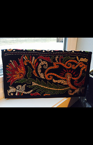 Black Zipper Clutch With Multicolored  Kantha Embroidery