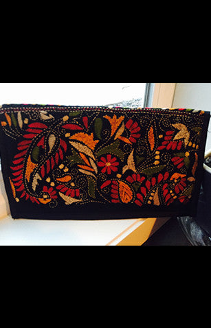 Black Zipper Clutch With Red, Green and Yellow Kantha Embroidery