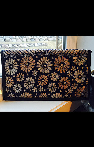 Black  With Floral Kantha Embroidered Zipper Clutch