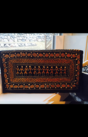 Black Zipper Clutch With Traditional Kantha Embroidery with Figures