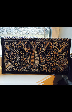Fish Motif Black Zipper Clutch With Traditional Kantha Embroidery