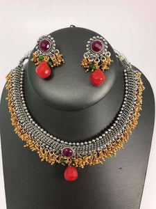 Dual Tone Red Stone Necklace Set