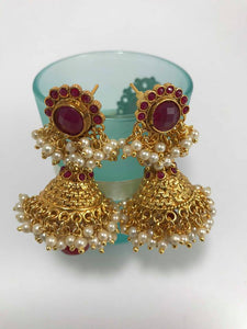 Gold Plated Pearl Finish Jhumka Earring