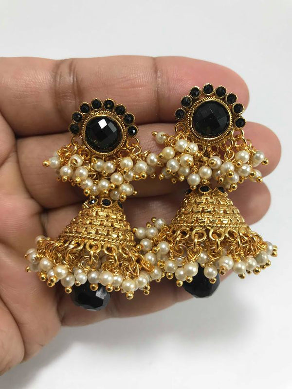 4a68eca5f52 Gold Plated Black Stone Pearl Finish Jhumka Earring