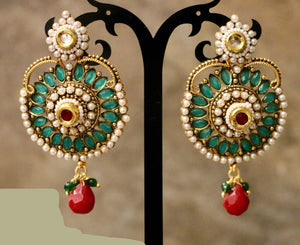 Gold Plated Green Stone with Red Bead Earring