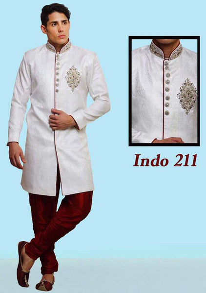 Men's Dupion Silk White & Maroon Sherwani Set