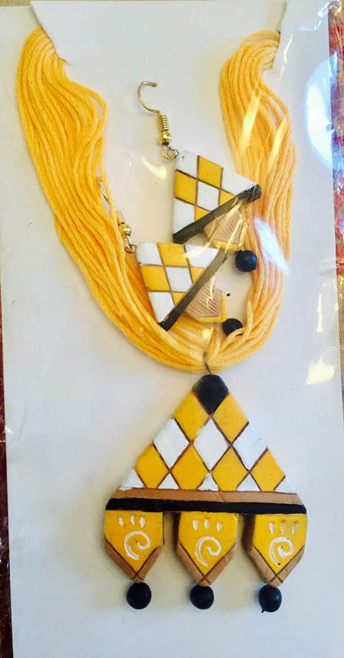Yellow Terracotta Necklace And Earrings Set