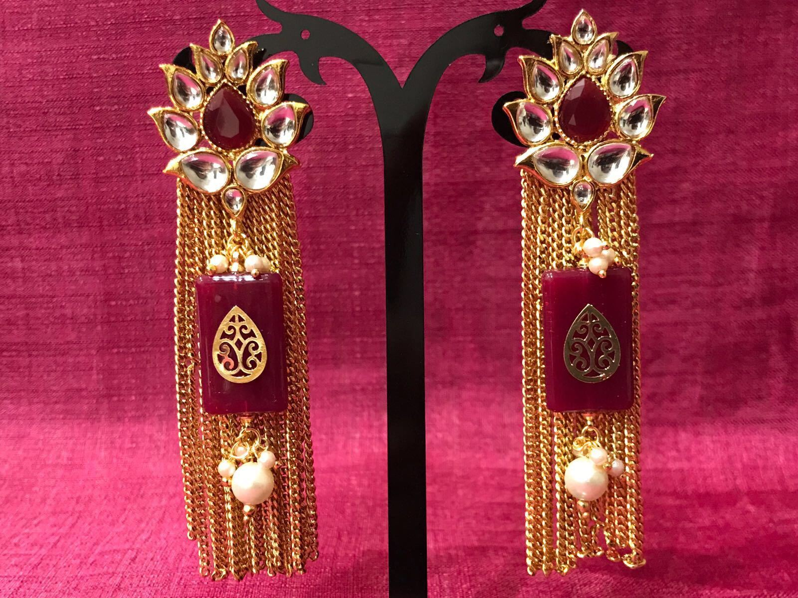 Trendy Red Stone Kundan Earring With Pearl Beads