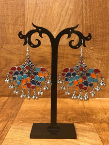 Multicolored Meenakari Work  Afghan Earrings