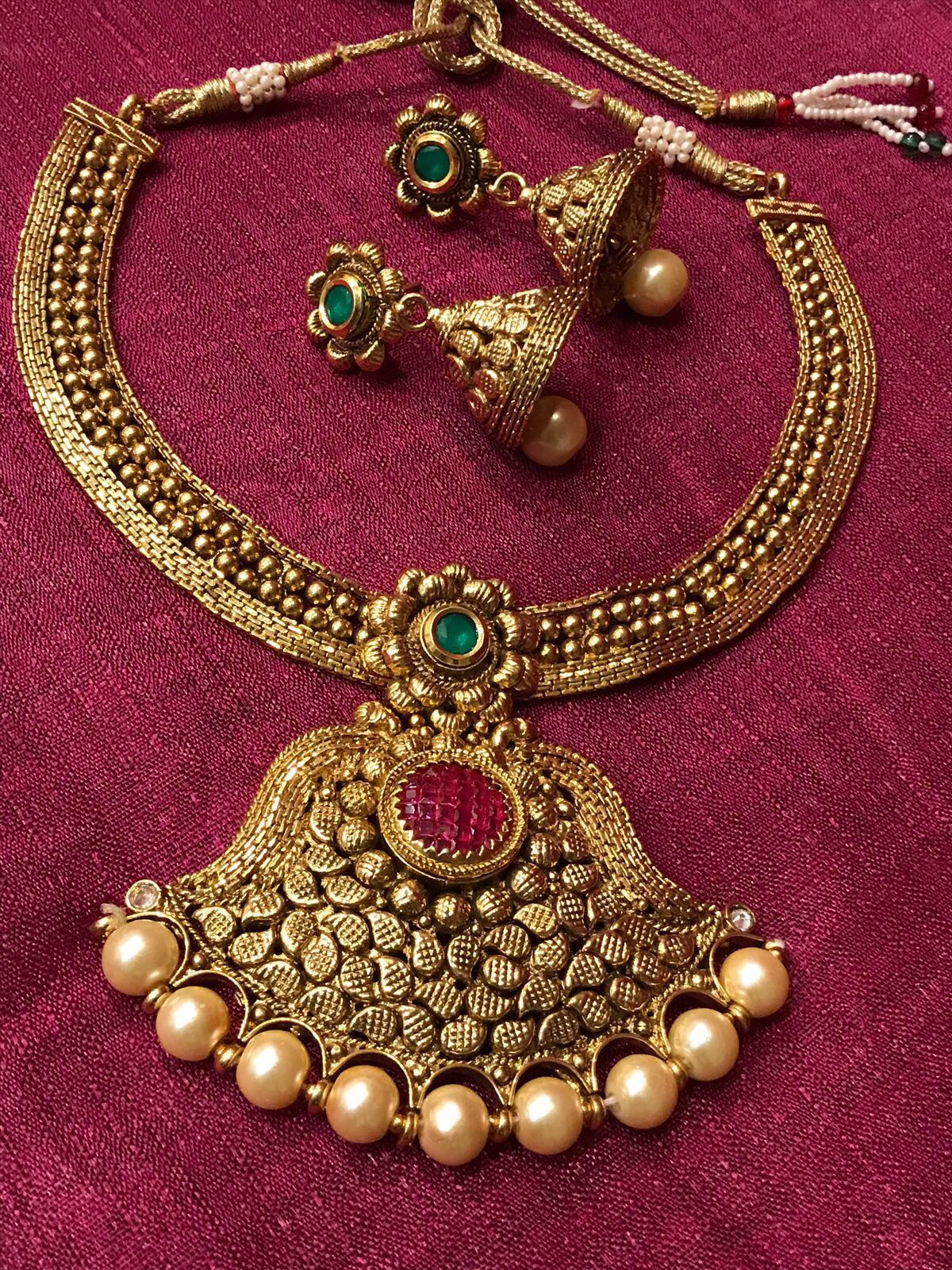 Antique Gold Plated Temple Design Necklace Set With Pearl Beads