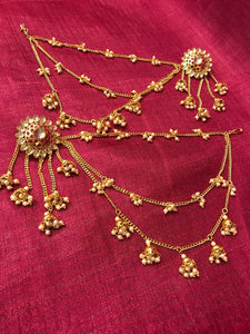 Antique Gold Red Stone Flower Earring With Three Layered Long Chain