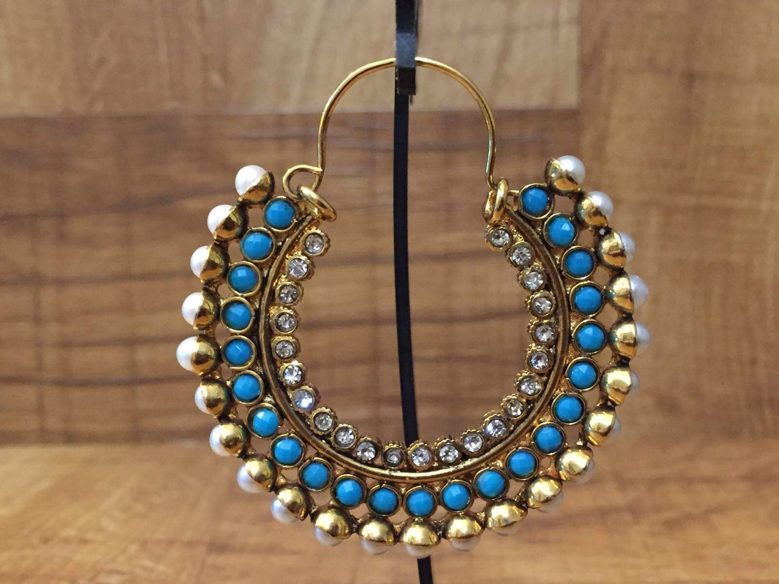 Gold Plated turquoise blue Stone Chandbali Earring