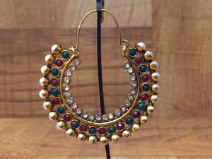 Gold Plated Red & Green Stone Chandbali Earring