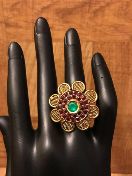 Antique Gold Green & Red Stone Studded Ring