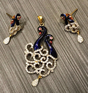 Meenakari Peacock CZ Stone Work Gold Plated Pendant Set