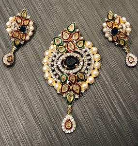 CZ Stone Settings Kundan Pendant Sets With Pearl Beads