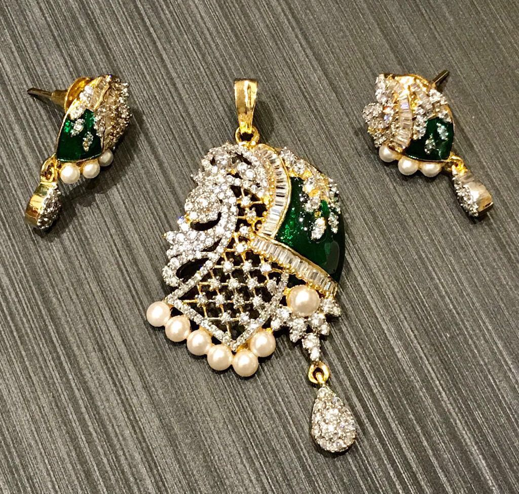 Green Meenakari CZ Stone Work Gold Plated Pendant Set