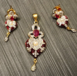 Ruby Red Meenakari CZ Stone Heart Shaped Gold Plated Pendant Set