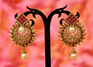 Red Stone Antique Gold Plated Flower Design Earring