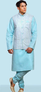 Light Blue Mens Silk Kurta Pajama With White Stripe Modi Jacket