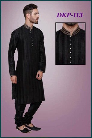 7fe1ae1bf734 Classic Black Color Mens Dupion Silk Kurta Pajama Set