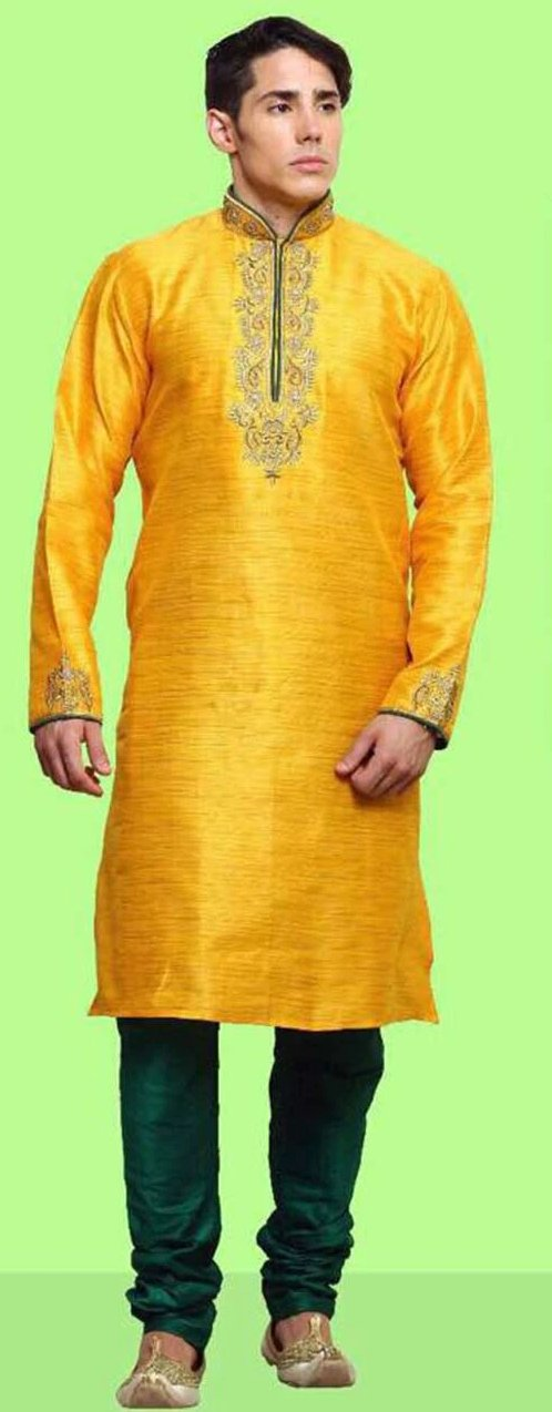 Yellow & Green Dupion Silk Kurta Pajama Set