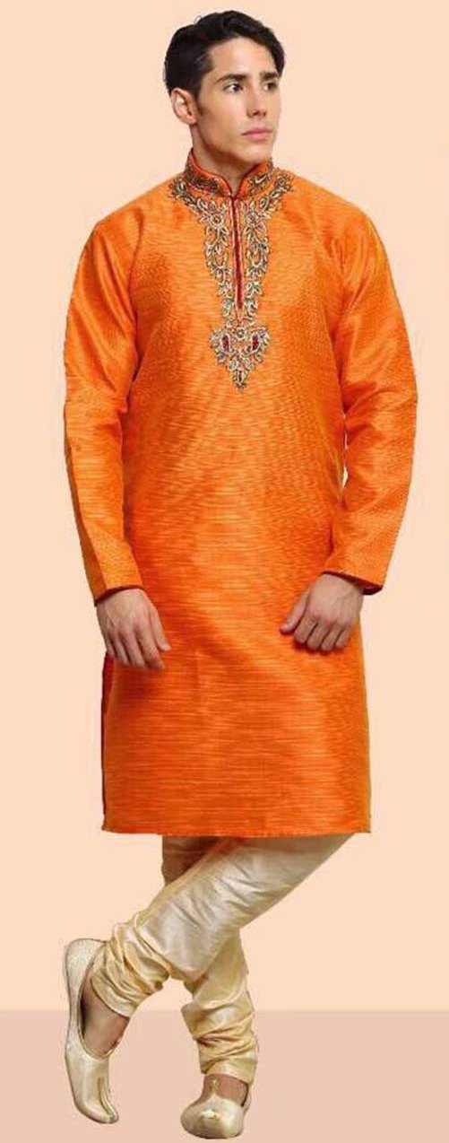 Orange Dupion Silk Mens Kurta Pajama Set