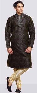 Black Dupion Silk Mens Kurta Pajama Set