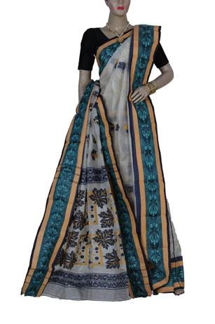 Off-White & Blue Handloom Tussar Silk Saree