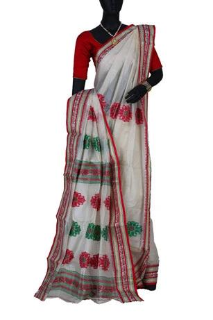 Off White with Red & Green Tussar Silk Handloom Sari