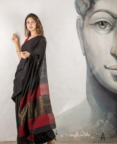 Black Handwoven Khadi Cotton Saree