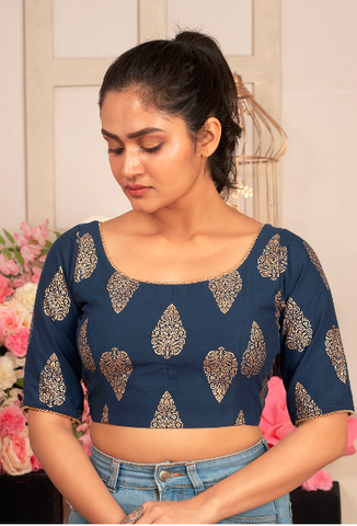 BLUE PADDED GLASS SLEEVES COTTON BLOUSE WITH GOLDEN PRINT