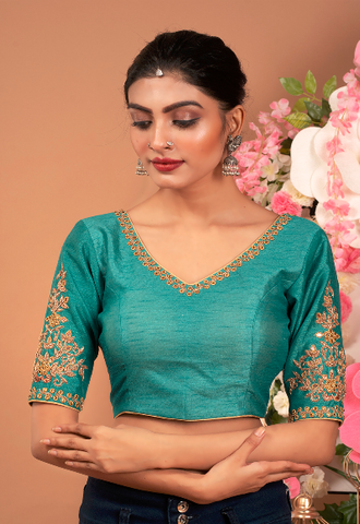 TEAL HAND EMBROIDERED RAW SILK PADDED BLOUSE