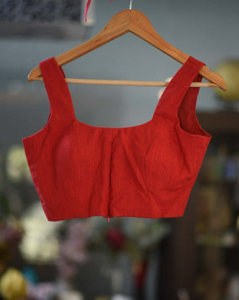 Feisty Red Cotton Ready Made Blouse