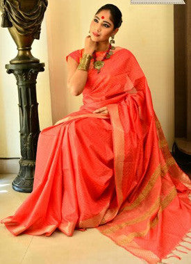 Peach And Gold Handwoven Cotton Silk Saree