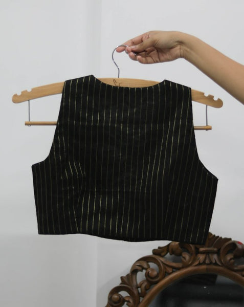 Black & Gold Chanderi Ready Made Blouse