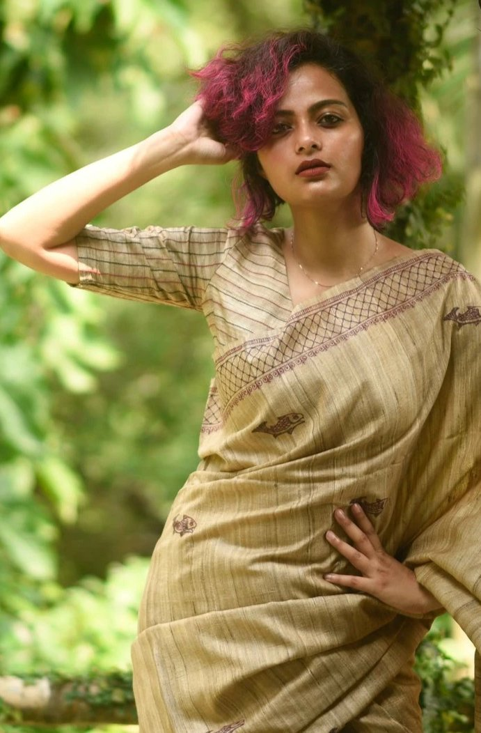Maroon & Black Tussar Ready Made Blouse with Kantha Detailing