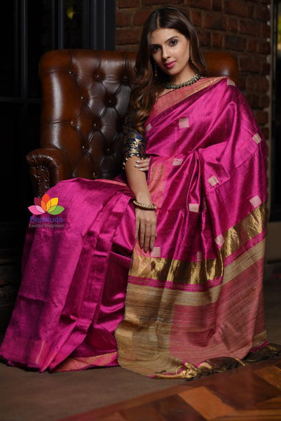 Pink Shade Handwoven Tussar Raw Silk Saree
